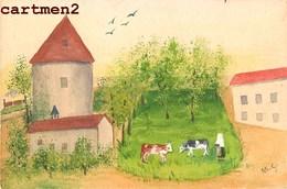 MEAUX CARTE PEINTE A LA MAIN VISITATION FERME MOULIN PIGEONNIER CHAPELLE STYLE NAÏF SIGNEE M.G. GUILLON - Meaux