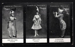 CPA PUB ANCIENNE- FRANCE- PARIS- SPECTACLES (75)- PUB CHOCOLAT POULAIN- 3 ARTISTES DE VARIÉTÉ NOMMÉES - - Frankreich