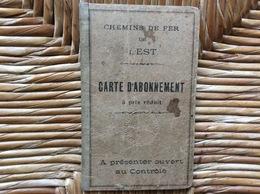 CHEMINS DE FER DE L'EST  Carte D'Abonnement à Prix Réduit   PARIS NOGENT  Année 1924 - Abonnements Hebdomadaires & Mensuels