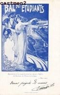 """LYON BELLE CPA """" BAL DES ETUDIANTS """" DESSIN STYLE ART NOUVEAU MAQUETTE CONCOURS D'AFFICHES 15 MARS 1902 HOTEL DIEU QUAI - Lyon"""