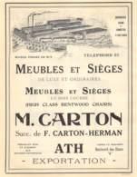 1928 - ATH - Boulevard Des Glacis - Meubles Et Sièges - M. CARTON - Grd Format Dim. A4 - Publicités
