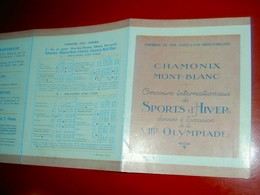 VIIIe Olympiade Sports D'Hiver  Chamonix Mont-Blanc 1924 Dépliant Touristique Illustré Chemins De Fer PLM  Matisse - Sports D'hiver