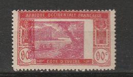 COTE D'IVOIRE N° 81 90C BRIQUE ET ROSE CLAIR TYPE LAGUNE EBRIE CENTRE TRÈS DÉPLACÉ NEUF CHARNIÈRE TRÈS LÉGÈRE - Costa D'Avorio (1892-1944)