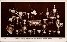HMS Nelson Trophies Won By Officers And Men Royal Navy England RPPC Wright & Logan Postcard Z2 - Warships