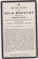 DOODSPRENTJE DEPUYDT JULIA ECHTGENOTE PLUYM VLAMERTINGE (1905 - 1926) - Devotieprenten