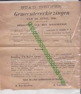 Verkiezingsbrief 1921, Deinze, Verkiezingen - Announcements