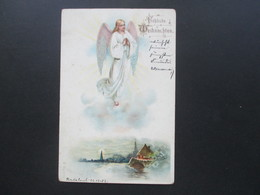 Künstlerkarte Fröhliche Weihnachten Engel Stempel 24.12.1903 Radebeul Nach Dresden Mit Ak Stempel - Engel