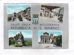 CPSM : 15 X 10,5  - SALUTI  DALLA  MILLENARIA   REPUBBLICA   DI  S.  MARINO - San Marino