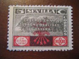SEVILLA 1936 1937 Falange Poster Stamp Label Vignette Viñeta España Guerra Civil War Spain - Vignette Della Guerra Civile