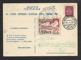 Portugal Carte Postale Avec Vignette Et Cachet A Date Expo Philatelique Porto 1950 Cinderella On Cover Comm. Pmk. Oporto - Emissions Locales