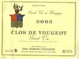 Etiquette Clos De Vougeot - 2005 - Domaine Castagnier - Morey Saint Denis - Bourgogne