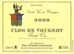 Etiquette Clos De Vougeot - 2009 - Domaine Castagnier - Morey Saint Denis - Bourgogne