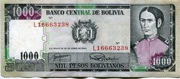 BILLETE DE 1000 - MIL PESOS BOLIVIANOS. BOLIVIA AÑO 1982. JUANA AZURDUY DE PADILLA / CASA DE LA LIERTAD - LILHU - Bolivie