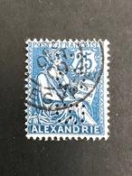 ALEXANDRIE Bureau Francais N°27 IOB 4-2 Indice 7 Mouchon Perforé Perforés Perfins Perfin Superbe !! - Stamps