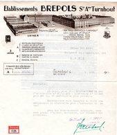 1 Faktuur Turnhout Brepols 3 Usines Cartes à Jouer Papier Peints Agendas Livres De Dévotion  C1943 Tel.n°29 - Belgique