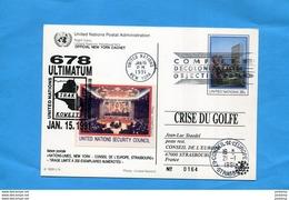 Marcophilie- VIGNETTE-Nations Unies-New York- Sur Entier Postal- 6c+-cad  91 Concil-Ultimatum IRAK>Françe Conseil E U - Erinnofilia