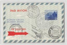 17449  REPUBBLICA DI SAN AMARINO VOLOCON ELEICOTTERO 1950 X FIERA DEL FRANCOBOLLO RICCIONE - Posta Aerea