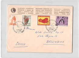 AG1805 01  JUGOSLAVIJA LJUBLJANA 1966 WORLD AND EUROèEAN ICE HOCKEY CHAMPIONSHIP - Storia Postale