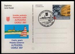 Croatia Zagreb 2007 / Alpe Adria Caorle / Philatelic Exhibition / Sailing, Church, Coat Of Arms - Croatie