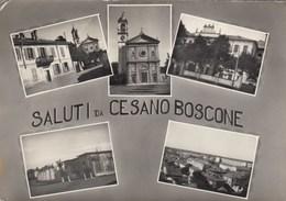 CESANO BOSCONE-MILANO-SALUTI DA-MULTIVEDUTE(5 IMMAGINI)-CARTOLINA VERA FOTOGRAFIA VIAGGIATA IL 6-10- -1958 - Milano