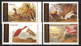TANZANIA - 1986 - Illustrations Of American Bird Species By Audubon: Mallard, American Eider, Scarlet Ibis - MNH - Tanzania (1964-...)
