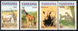 TANZANIA - 1986 - Endangered Wildlife: Oryx, Giraffe, Rhinoceros,Cheetah - MNH - Tanzania (1964-...)