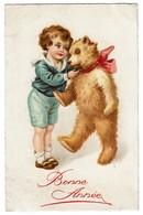 Carte Illustrateur Circulée En 1935 - Enfant Avec Ours En Peluche / Teddy Bear  - Bonne Année - 2 Scans - Giochi, Giocattoli