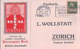 Carte Postale Publicité, IDEAL Absätze, Hervorragende Marke, Firma L. Wollstatt Zürich (30.8.24) - Publicité