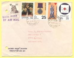 INDIA - 1977 - 5 Stamps - Book Post, Air Mail - Sacred Heart Mission C/o Don Bosco Matriculation School - Viaggiata Da M - India