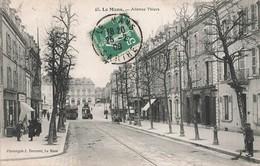 Tram Tramway Le Mans Avenue Thiers Cpa Carte Animée Cachet 1908 - Strassenbahnen