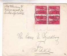 1938 ENVELOPPE DANMARK KOBENHAVN LANDBRUGSUDSTILLINGEN CIRCULEE TIMBRE BLOC AVEC BORD DU PLAQUE - BLEUP - Lettere
