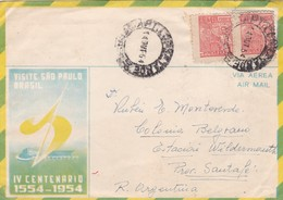 1954 SPC AIRMAIL VISITE SAO PAULO BRASIL IV CENTENARIO CIRCULEE A SANTAFE ARGENTINE STAMP A PAIR - BLEUP - Posta Aerea
