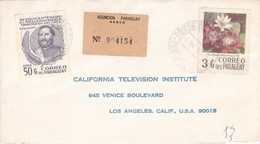 1977 ENVELOPPE ARECOMMANDE PARAGUAY CIRCULEE A CALIFORNIA TELEVISION INSTITUTE USA - BLEUP - Paraguay