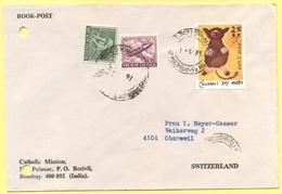 INDIA - 1975 - 3 Stamps - Book Post - Catholic Mission - Viaggiata Da Bombay Per Oberwil, Suisse - India