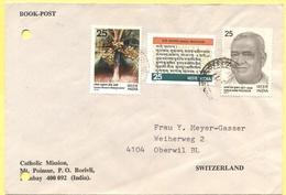 INDIA - 1977 - 3 Stamps - Book Post - Catholic Mission - Viaggiata Da Bombay Per Oberwil, Suisse - India