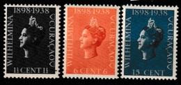 Curacao 1938 Jubileumzegels Wilhelmina . NVPH 138-140 MNH/**/Postfrisch - Curacao, Netherlands Antilles, Aruba