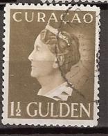Curacao 1941-42 Wilhelmina. 1,50 Gld Olijfgrijs NVPH 151c (13,25)  Gestempeld. - Curaçao, Antilles Neérlandaises, Aruba