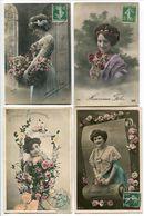 6 CPA Fantaisies * JEUNES FEMMES Avec Des Fleurs ( Bonne Heureuse Fête Anniversaire ) - Femmes