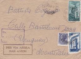 1956 ENVELOPPE CIRCULEE GENOVA A MONTEVIDEO RECOMMANDE - BLEUP - 6. 1946-.. Republic