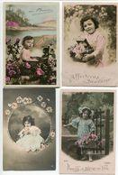 4 CPA Fantaisies * Bébé Enfant Fillette Petite Fille * Fleurs Souvenir Fête Affection - Enfants