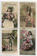 4 CPA Fantaisies * Enfant Fillette Fille Avec Fleurs Panier Osier * Bonne Fête Meilleurs Baisers - Enfants