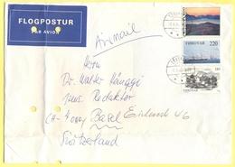 Isole Faroe - Føroyar - Faroer - 1983 - 3 Stamps - Par Avion - Flogpostur - Viaggiata Da Tórshavn Per Basel, Switzerland - Isole Faroer
