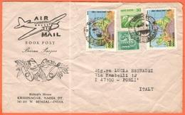 INDIA - 1987 - 4 Stamps - Airmail - Book Post - Buona Pasqua - Viaggiata Da Krishnanagar Per Forlì, Italia - India