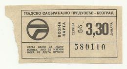 Serbia Bus Transportation City Belgrade Ticket  Cca1970 - Bus