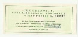 Yugoslavia - BUS Transportation -Ticket Insurance Policy ,  Cca 1960 - Season Ticket