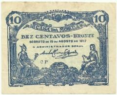 CÉDULA De 10 Centavos - 15.08.1917 - SÉRIE CP - M. A. N.º 8b - CASA Da MOEDA - Portugal Emergency Paper Money - Notgeld - Portugal