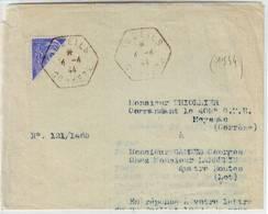 CURIOSITE , DEMI 10 C MERCURE Obl TUDEILS Correze 1944 Sur Document De L' ERE .. - Marcophilie (Lettres)