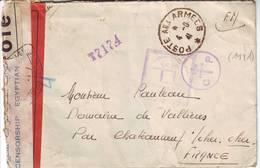 Guerre De 40 , Lettre POSTE AUX ARMEES 1941 , TROIS CENSURES DIFFERENTES , Sonr Egypte Et Levant - Marcophilie (Lettres)