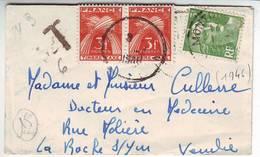Marianne De Gandon Lettre Carte De Visite TAXEE Le 1 JANVIER 1948 .... - Marcophilie (Lettres)