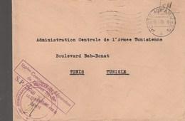 LETTRE FM BPM 415B - COMMANDANT SP 73748 - 186e CIE REPARATION DIVISION BLINDEE POUR DIRECTEUR L A.C.A.T - TUNIS 19/5/53 - Postmark Collection (Covers)